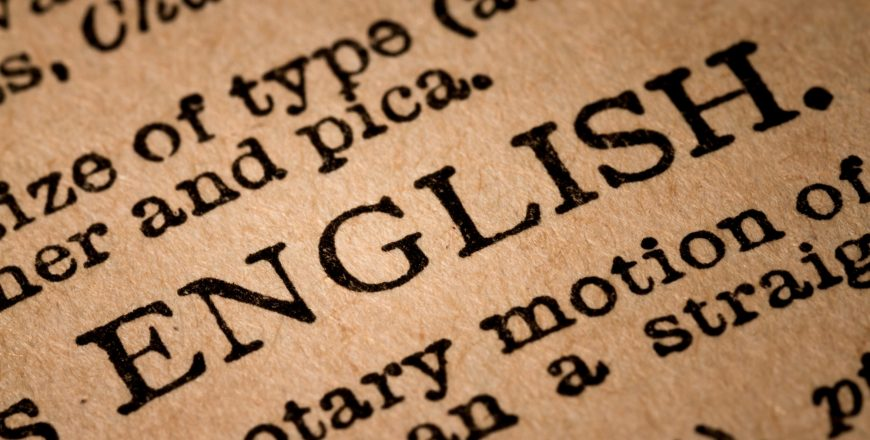 Close-up of an Opened Dictionary showing the Word ENGLISH